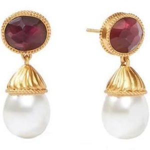 Julie Vos Olympia Pearl Drop Earring Bordeaux NWT